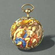 Enamelled pendant watch with single hand