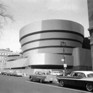 The front of the Guggenheim Museum from 5th Avenue