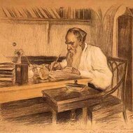 Leon Tolstoi at his desk Portrait by Leonid Osipovich Pasternak, 1908