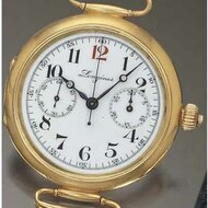 Wristwatch with single button chronograph, Longines, 1910 © Antiquorum.com