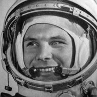 Youri Gagarine in space suit.