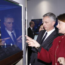 Swiss President Didier Burkhalter viewing the exhibition. He is accompanied by Fabienne Lupo.