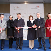 From left: Yutaka Nishimura; Swiss Ambassador to Japan Urs Bucher and his wife; Swiss President Didier Burkhalter and his wife; Fabienne Lupo