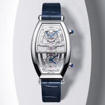 Cartier: Skeleton Dual Time Zone Tonneau Watch