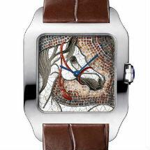 Montre Santos-Dumont XL, or gris, décor cheval, mosaïque de pierres
