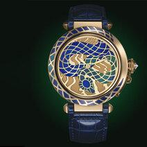 Pasha de Cartier enamel champlevé snake motif