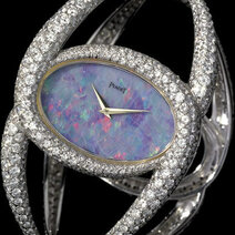 Cuff watch with opal dial, 1,000 brilliants, 1971, Piaget