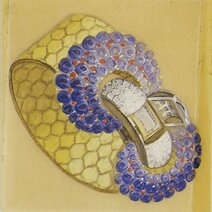 Design ludo watch hexagone yellow gold sapphires circa 1937