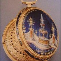 Léonard Vallette, montre de poche/vers 1790. Boîte en cuivre doré, strass sertis dans monture argent, paillons d'or et d'argent peints sous fondant, sur cuivre, cadran d'émail peint/vers 1755 © MHE, Genève