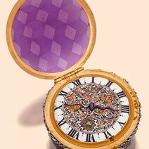 Enamel and amethyst-colored faceted glass, single-hand, lady's pendant watch with concealed dial/circa 1650 © Antiquorum