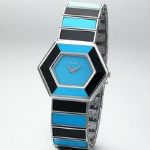 Piaget: Lady's watch with turquoise and onyx dial and bracelet/1975