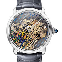 Ronde Louis Cartier Straw and Gold Marquetry Watch