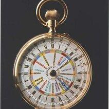 Montre de poche en or, à cadran 24heures et indication des heures universelles. Béguelinm, Tramelan (Suisse), vers 1885