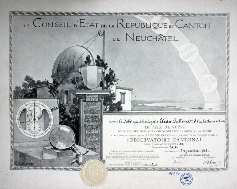 Certificat de l'Observatoire de Neuchâtel © MIH
