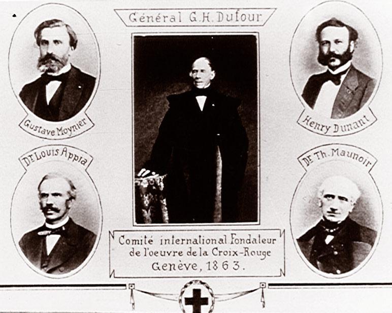 Les 5 membres fondateurs de la Croix Rouge