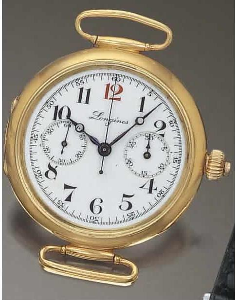 Montre bracelet chronographe monopoussoir, Longines, 1910,© Antiquorum.com