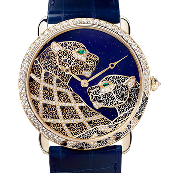 Ronde Louis Cartier XL filigree panthers décor